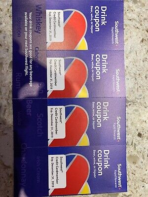 (x4) Southwest Airlines Coupons Drink  Voucher Exp 12/31/2019 Fast Shipping!!