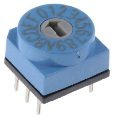 Apem DIP SWITCH 150mA 24V DC 16-Positions Through Hole, Rotary Flush Actuator