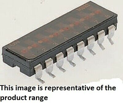 Apem LOW PROFILE SLIDE SWITCHES 5Pcs 100mA 8-Way Surface Mount, Beryllium Copper