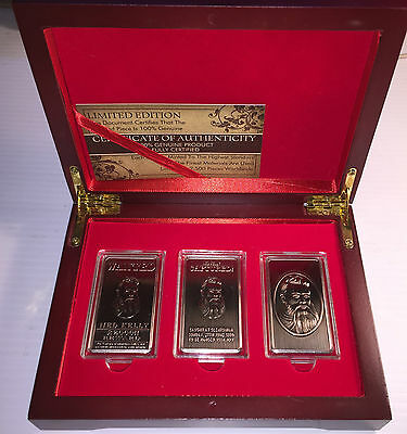 """""""NED KELLY"""" Set Of 3 x 1oz Ingots & Display Box Finished in 999 Antique Silver"""