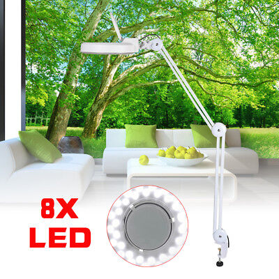 8X LED Desk Clamp Mount Magnifier Lamp Light Magnifying Glass Lens Diopter