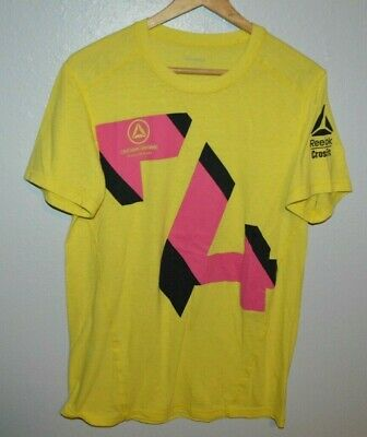 REEBOK CROSSFIT yellow graphic Mens T-Shirt Large Slimmer Training