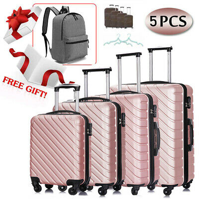 5 Piece Travel Hardshell Luggage Set ABS Spinner & Canvas Backpack Suitcase