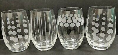 Mikasa Cheers Stemless  Wine Glasses Set-4 Etched Polka Dots & Stripes 15 OZ