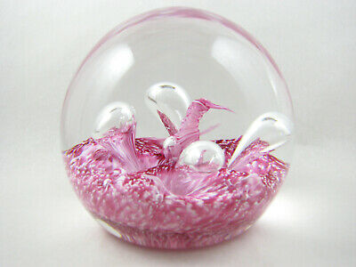 Caithness Glass Pink Moonflower Rose paperweight, late 80s, Colin Terris