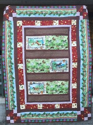 """Full Gallop horse quilt, 68 by 92"""""""