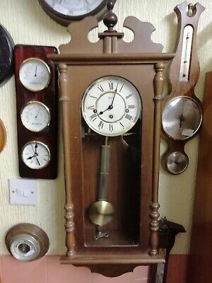 (1302) Brown Wooden Glass Fronted Door Long Case Wall Clock Wind Up Movement Wes