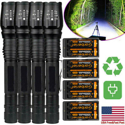 Lot Tactical Police 900000 Lumens 5 Modes T6 LED 18650 Flashlight Zoomable Torch