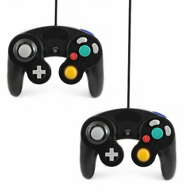 2x BLACK WIRED CLASSIC CONTROLLER JOYPAD GAMEPAD FOR NINTENDO GAMECUBE Wii