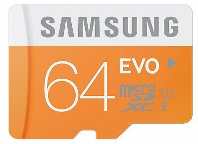 Samsung 64GB EVO 48MB/s MicroSD SDXC UHS-I Class 10 Memory Card Retail package