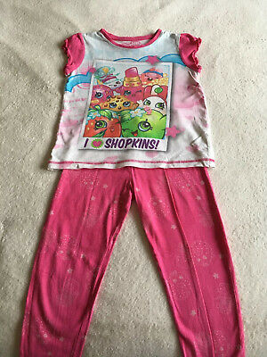 Shopkins Girls Pink Pj With Characters 5-6 Years Excellent Condition 100% Cotton