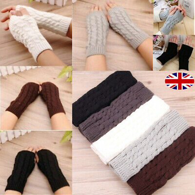 Women Winter Long Knitted Gloves Thick Warm Finger less Mittens Arm Warmers UK