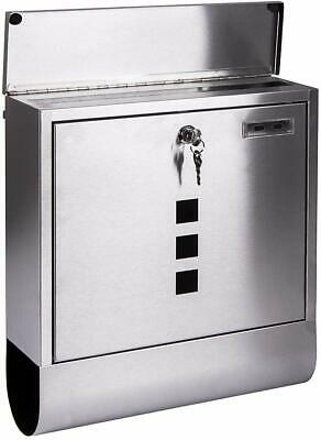 Post Letter Box with Newspaper Holder Silver Wall Mount Stainless Steel NEW (I)