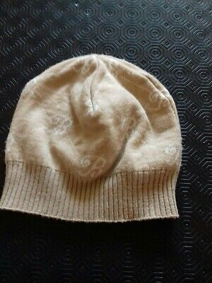 Used woman wool hat, Blumarine brand, made in Italy, beige and white One size