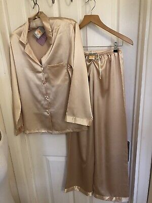 BNWT Gorgeous M&S Gold Silky Pyjamas. Size 10 Long. New Marks And Spencer💕
