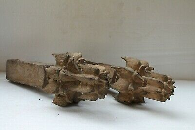 Antique Old Wooden Single Wood Fine Carved Wall Ceiling Flower NH3078