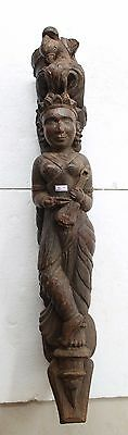 Antique Hand Carved Fine Wooden Angel Doll Architectural BIG Wall Bracket NH3694