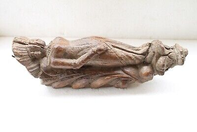 Antique Original Fine Wooden Doll Angel Carved Architectural Wall Bracket NH3699
