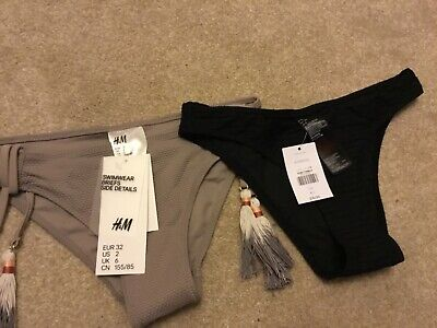 2 Pairs of Bikini Bottoms Size 6&8 Topshop & H&M BRAND NEW WITH TAGS