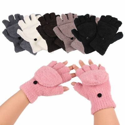 Ladies Winter Fingerless Gloves With Fold Over Mitten Cover. Fleece Thermal Gift