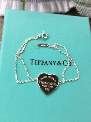 """Return to Tiffany & Co Heart Tag with Double Silver Chain 6.25"""" Bracelet"""