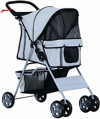 PawHut Pet 4 Wheels Travel Stroller Dog Cat Pushchair Trolley Grey NEW (C1)