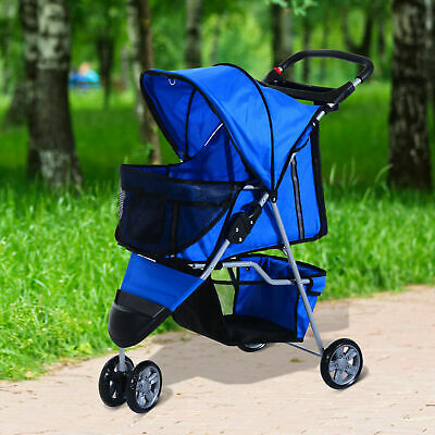 PawHut Pet 4 Wheels Travel Stroller Dog Cat Pushchair Trolley Blue NEW (A1)