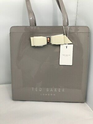 BNWT Ted Baker designer Almacon bow icon tote Bag/handbag grey large