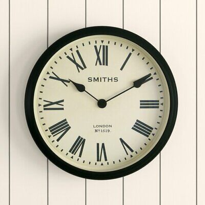 Smiths Station Clock 50cm Metal Black Roman Numerals NEW (F)