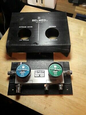 Belmed Dental Nitrous Oxide Manifold With 2 Tubing And 2 Gas Regulators untested