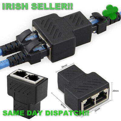 RJ45 Splitter Convertor 1 to 2 Dual Female Port CAT 5/CAT 6 LAN Ethernet Adapter