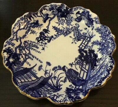 Beautiful Royal Crown Derby Blue Mikado Round Scalloped Edges Dish~Bowl~VXI~6.75