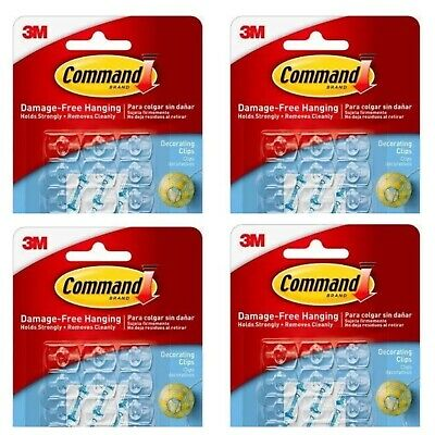 20 X 3M COMMAND DECORATING CLIPS HOOKS WITH CLEAR STRIPS ...