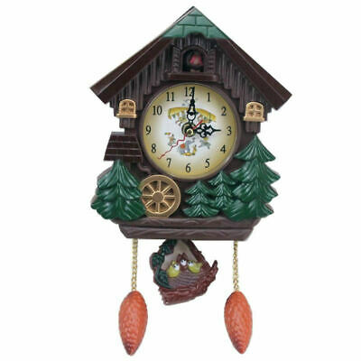 House Shape 8 Inches Wall Clock Cuckoo Clock Vintage Bird Bell Timer Living O7J5