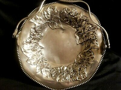 ANTIQUE PAIRPOINT Mfg SILVERPLATE BRIDES BASKET CENTER BOWL CANDY DISH w HANDLE