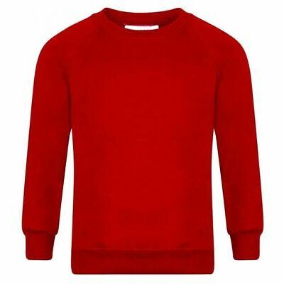 Boys Girls New School Uniform Plain Red Round Neck Sweatshirt Age 1 To 14