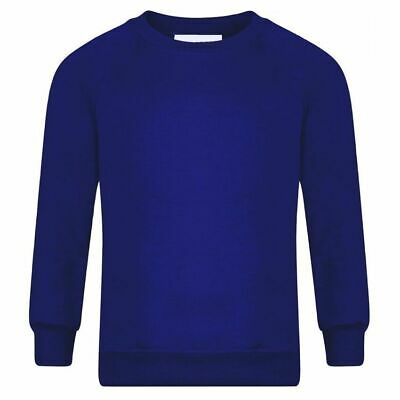 Boys Girls New School Uniform Plain Royal Blue Round Neck Sweatshirt Age 1 To 14