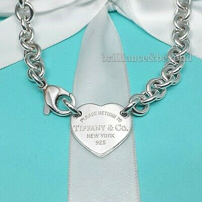 Return to Tiffany & Co Heart Tag Necklace Choker 925 Sterling Silver Box + Pouch