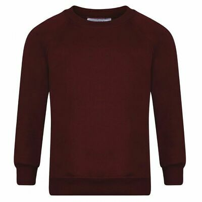 Boys Girls New School Uniform Plain Wine Round Neck Sweatshirt Age 1 To 14