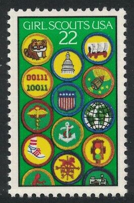 Scott 2251- Girl Scouts of America, Badges- MNH 1987- 22c unused mint stamp