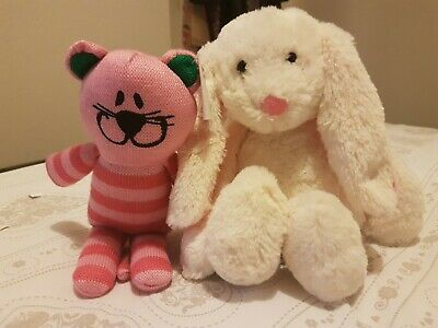 Cute Cuddly Bunny & Cat Girls Soft Toy Christmas Gift Set *Free P&P* *BNWT*