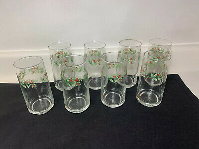 Gibson Everyday Christmas Charm Holly & Berries Tumblers Water Glasses Set Of 8