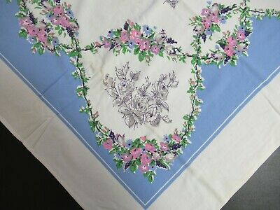 Vintage 40s 50s Roses Print Rectangle Cotton Tablecloth