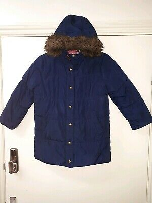 Joules Girls Navy Warm Padded Puffa Quilted Fur Trim  Hooded Coat Size Age 6