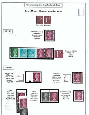 GB Machins 1p Specialised Collection U55-U58 (OCP/FCP, GA/PVA) MNH (2 Sheets)