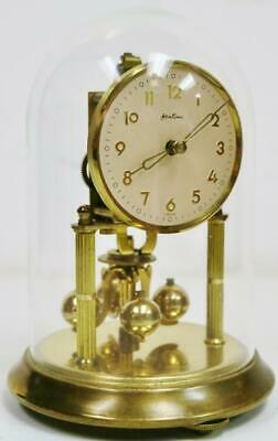 Small Vintage 400 Day German Anniversary Torsion mantel Clock Under Dome