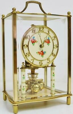 Vintage 400 Day German Anniversary Torsion mantel Clock Under Glass & brass Case