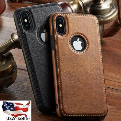 For iPhone 11 XR XS MAX 8/7 Plus SLIM Luxury Leather Back Ultra Thin TPU Case