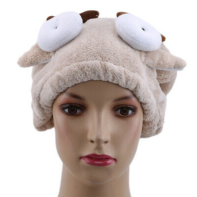 Womens Absorbent Quick Dry Turban Wrap Hair Hat Bathing Shower Towel Cap LH