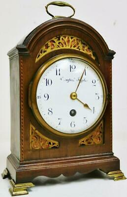 Small Antique 19thC French 8 Day Mahogany Arched Top Timepiece Mantel Clock